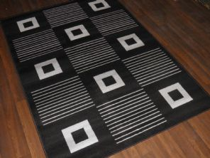 Modern Approx 6x4ft 120x170cm Woven Backed Black-Grey Quality Rug Square Design